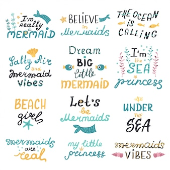 Vector set of lettering with cute mermaids phrases