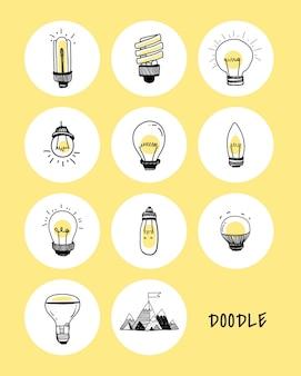 Vector of a set of light bulbs