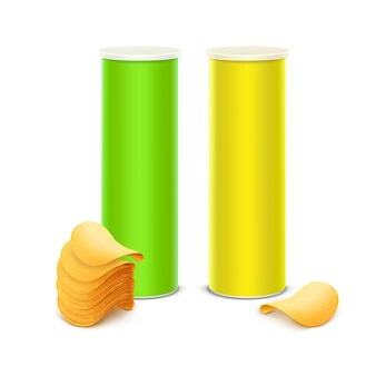 Vector set of light green yellow tin box container tube for package design