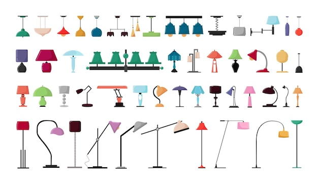 Vector set of lighting fixtures, lamps, floor lamps for home and office.