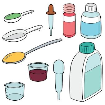 Vector set of liquid medicine