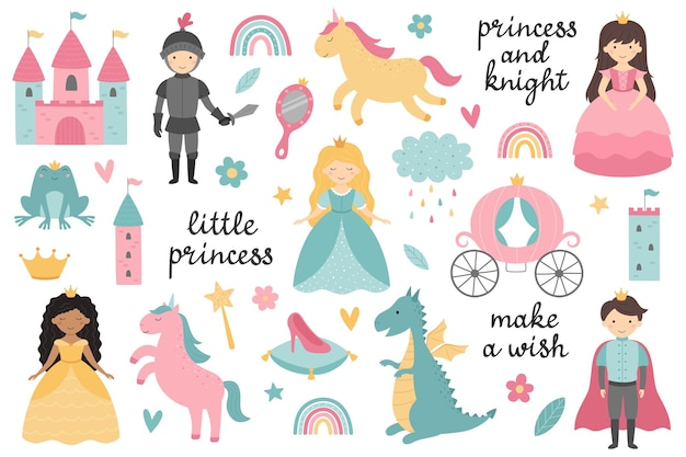 Vector set of little princesses prince knight dragon unicorn carriage castle frog crown