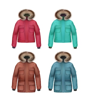 Vector set of long and short brown, pink, turquoise, blue sport winter coats with fur hood front view isolated on white background