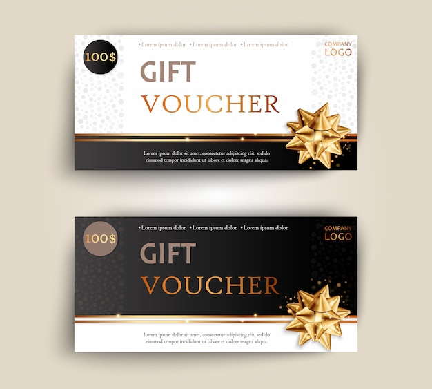 Vector set of luxury gift vouchers with ribbons and bow.