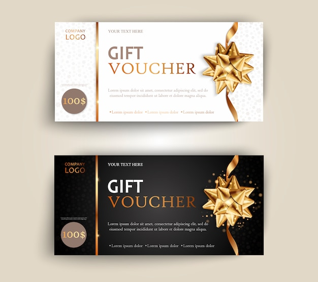 Vector set of luxury gift vouchers with ribbons and gift box.