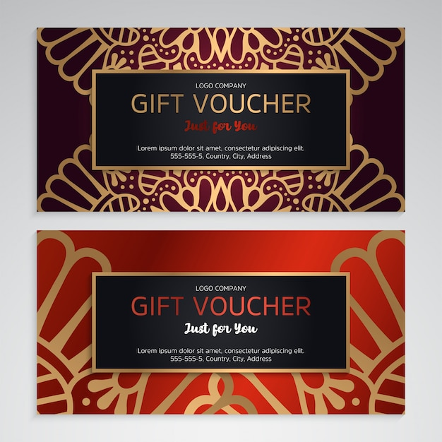 Vector set of luxury red gift vouchers