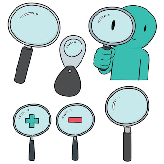 Vector set of magnifying glass