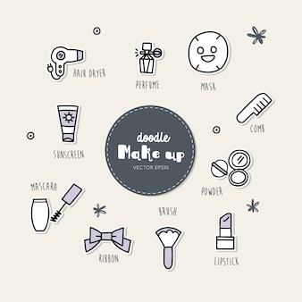 Vector set of make up icons