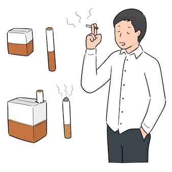 Vector set of man smoking cigarette