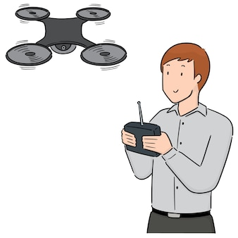 Vector set of man using drone