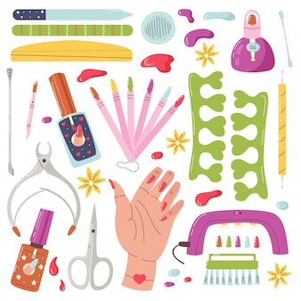 Vector set of manicure tools. home nail care. items for groomed hand nails. vector flat cartoon illustration
