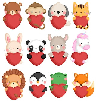 A vector set of many animal icons holding a heart