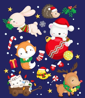 A vector set of many animal in a santa costume