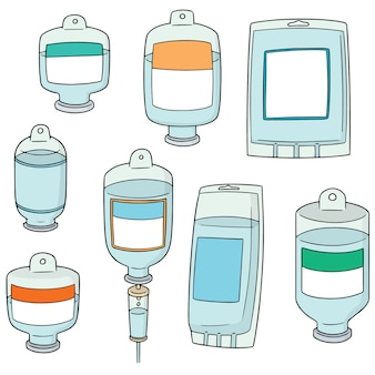 Vector set of medical saline solution