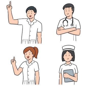 Vector set of medical staff