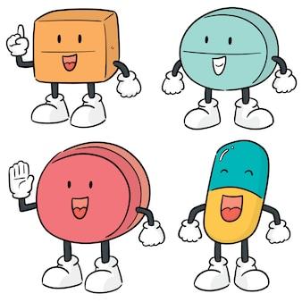 Vector set of medicine cartoon