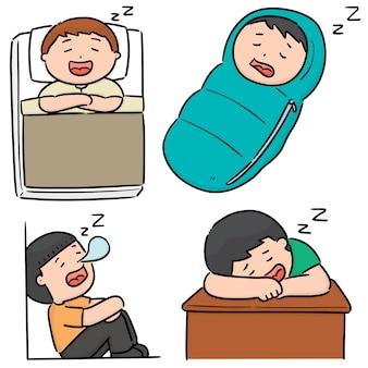 Vector set of men sleeping
