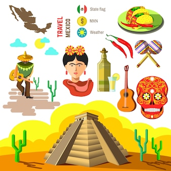 Vector set of mexico symbols.