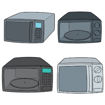 Vector set of microwave oven