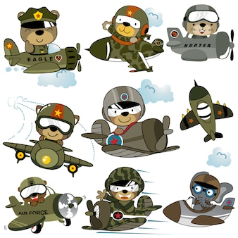 Vector set of military planes cartoon with funny pilots