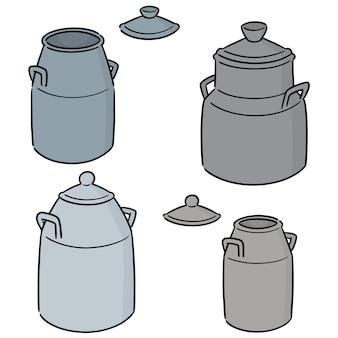 Vector set of milk can