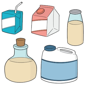 Vector set of milk product