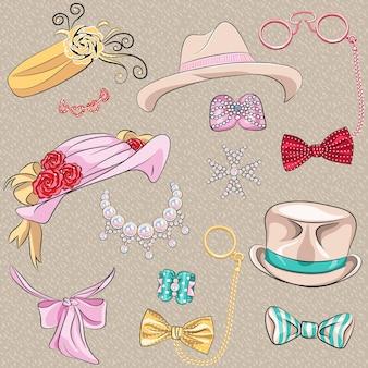 Векторный набор галстуков и аксессуаров