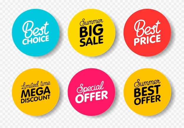 Vector set of modern colorful labels for greetings and promotion.
