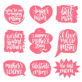 Vector set of mothers day hand lettering in speech bubbles for greeting cards.