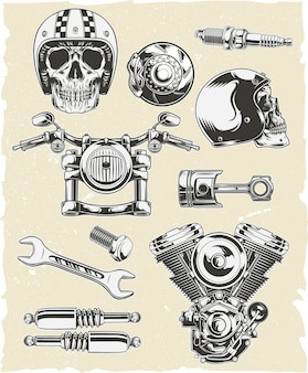 Vector set of motorcycle parts