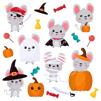 Vector set of mouse characters