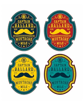 Vector set mustache logo