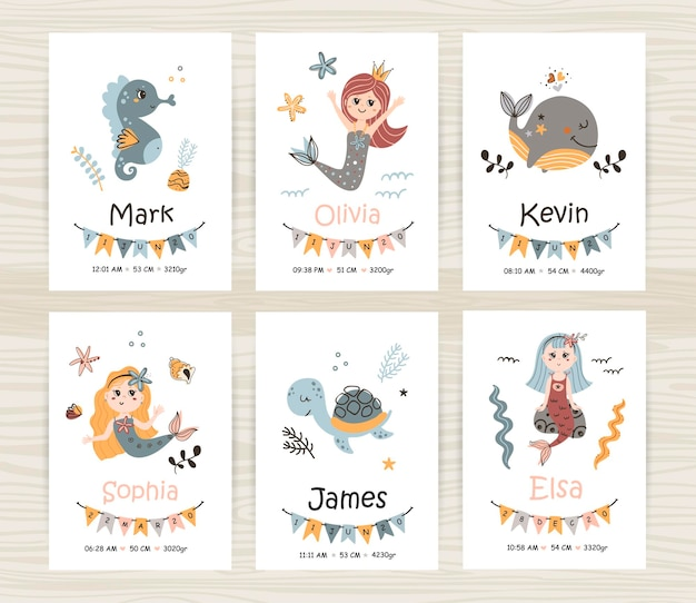 Vector set of newborn cards with mermaids and animals