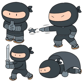 Vector set of ninja