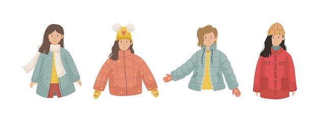 Векторный набор из 4 иллюстраций с девушками в зимней одежде.