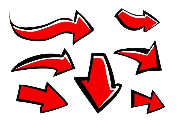 7 스타일 낙서 손의 벡터 세트 흰색 절연 화살표의 빨간색 큰 표시를 그립니다