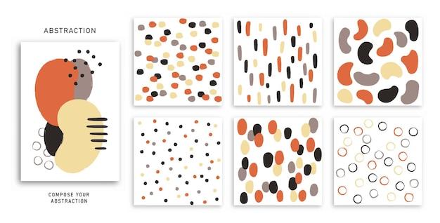 抽象的なブラシストローク手描きデザイン要素抽象的な背景のベクトルセット