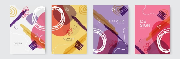 Векторный набор абстрактных творческих фонов в минималистичном модном стиле с копией пространства для текста - шаблоны дизайна для историй в социальных сетях и дизайна обложек