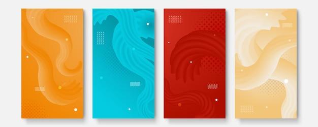 Векторный набор абстрактных творческих фонов в минималистичном модном стиле с копией пространства для текста - шаблоны дизайна для историй в социальных сетях