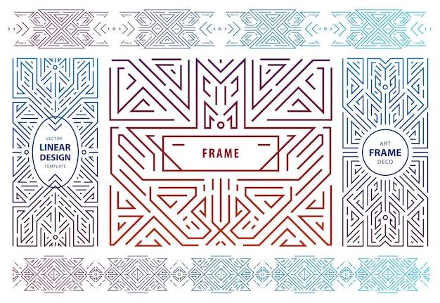 추상적인 기하학적 디자인 요소, 럭셔리 빈티지 artdeco 장식, 커버, 프레임의 벡터 집합입니다. 선형 스타일 모노그램 기하학적 배너, 고급 포장 디자인