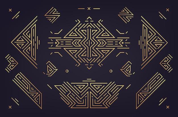 추상적인 기하학적 디자인 요소, 럭셔리 빈티지 artdeco 장식, 분배기의 벡터 집합입니다. 선형 스타일
