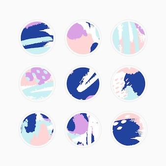 추상 하이라이트의 벡터 세트는 배경을 다룹니다. 소셜 미디어 스토리를 위한 템플릿 아이콘을 디자인합니다. 다채로운 밝은 브러시 스트로크의 라운드 엠블럼. 다른 블로거 및 개인 용도로 사용