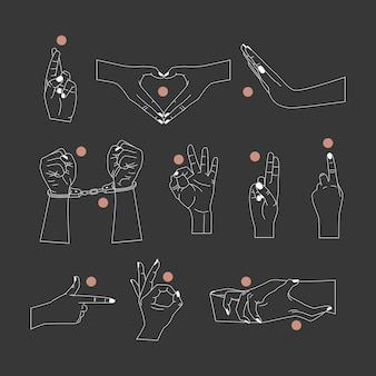 Векторный набор абстрактных шаблонов дизайна логотипа в простом линейном стиле руки жесты руками