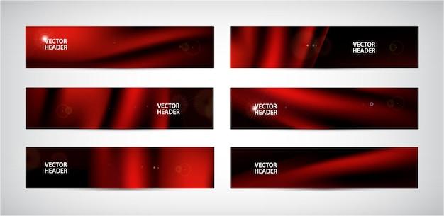 抽象的な赤い波状バナーのベクトルセット。シルク、サテンのフライングファブリック、黒の背景にカーテン。