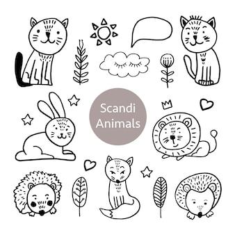 Векторный набор очаровательных животных в модном скандинавском стиле. смешно, мило, обниматься, рисованной иллюстрации для плаката, баннера, печати, украшения детской игровой комнаты или поздравительной открытки.