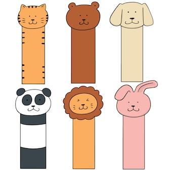 Векторный набор закладки для животных