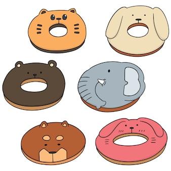 Векторный набор животных пончик