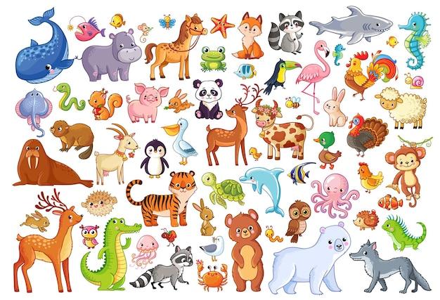 만화 스타일의 동물 홈 즐겨찾기 포유류 해양 생물 그림의 벡터 세트