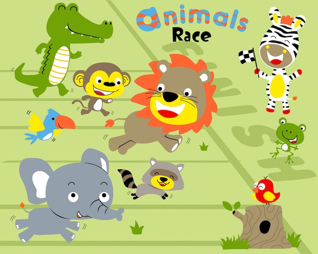 Векторный набор животных гонки мультфильм