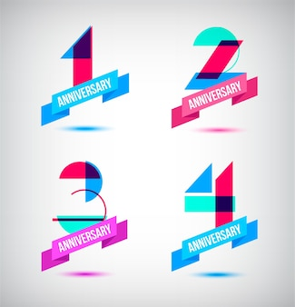 기념일 복고풍 숫자 디자인 1 2 3 4 리본이 있는 아이콘 구성의 벡터 세트